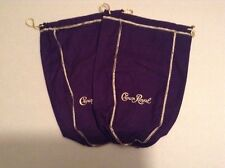 Lot Of 2 Large Crown Royal Vintage Velvet Embroidered Purple Drawstring Bags