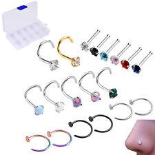 Nose Ring Bar Stud Body Piercing Set 19x Screw Cz Cubic Zirconia Screw Open Hoop