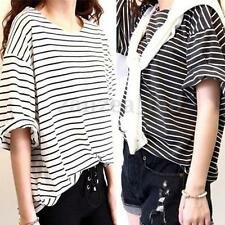 Women Cotton Striped Batwing Short Sleeve Loose Oversize Tops Blouse T-shirt Tee