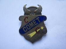 c1900 COMET CC CYCLING CLUB ENAMEL BADGE GAUNTLET HELMET WINGS WHEEL at TOP RARE