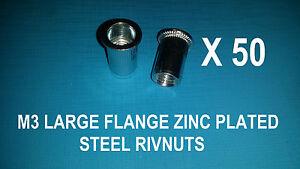 50 X STEEL ZINC PLATED RIVNUTS M3 NUTSERT RIVET NUT LARGE FLANGE NUTSERTS RIVNUT