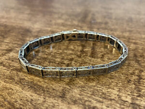"Vintage 14K Yellow Gold FILIGREE Bracelet, 6"" - 6 grams"