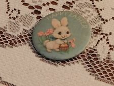 """Vintage Happy Easter 2 1/4"""" dia Pin Back Button White Bunny"""