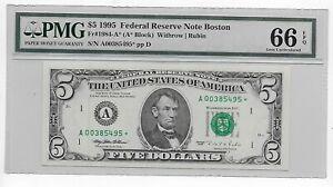 Scarce $5 1995 Boston Star A00385495* PMG GEM 66 EPQ 640,000