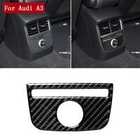For Audi A3 2014-2019 Carbon Fiber Central Armrest Cigarette Lighter Cover Trim
