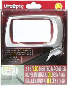 "UltraOptix LED Lighted Folding Magnifier - 3X Power Rectangular Lens - 2""x3"""