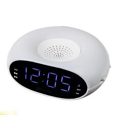 New Digital Home Table Dual Alarm Clock FM Radio Nightlight & Sleep Timer White