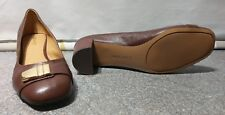 NINE WEST Ladies Brown Leather Court Shoes Gold Buckle Detail UK 8 10W #F