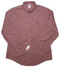 BROOKS BROTHERS Long Sleeve Button Shirt NON IRON Regent Red Checks Large L New