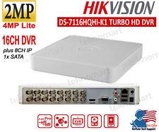 Hikvision 2MP 16CH DVR DS-7116HQHI-K1 Plus 8CH IP Record 1080p H.265 1xSATA