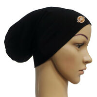 Underscarf cap muslim inner hijab soft stretchy cotton rhinestone chemo hat