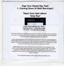 (FJ718) Clap Your Hands Say Yeah, Coming Down ft Matt Berninger - 2014 DJ CD