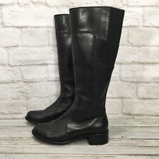 Taryn Rose Black Leather Knee High Riding Boots Women's Size 7
