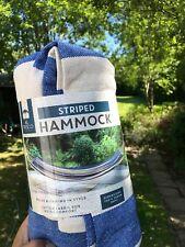 Nouveau Al Fresco à rayures bleu jardin Hamac 1x2m tissu de coton trad Country H...
