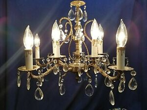 Petite French 10 light double tier Vintage cast Spanish Brass Crystal Chandelier