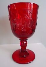 NEW MOSSER Art GLASS OHIO STATE UNIVERSITY OSU Water Beer GOBLET RUBY RED 3 LOGO