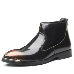 Mens Pointed Toe Polish Work Zip Ankle Boots Business Retro Casual Leather Shoes