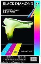 BLACK Diamond A4 Professional 100% COTONE BIANCO PURO tela per le stampanti a getto d'inchiostro