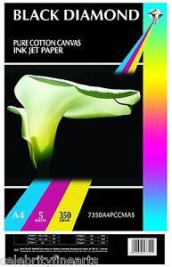 Black Diamond A4 Professional 100% Pure White Cotton Canvas for Inkjet Printers