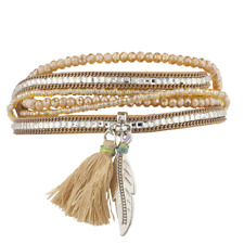 Lux Accessories Boho Tan Beaded Stone Tassel Feather Magnetic Wrap Bracelet