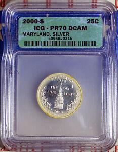 2000-S 25C Silver Maryland State Quarter PR70DC ICG 5096620315 + Bonus