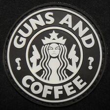 GUNS AND COFFEE STARBUCKS GITD RUBBER PVC SWAT VELCRO® BRAND FASTENER PATCH