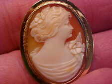 HAND CARVED CAMEO PENDANT / BROOCH 10K YEL GOLD 110+ YRS OLD  NO RESRV FREE SHIP