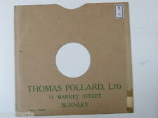 "78 rpm 10"" inch card gramophone record sleeve , THOMAS POLLARD , BURNLEY"