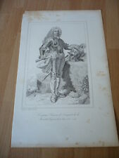 FRANCOIS DE FRANQUETOT DUC DE COIGNY   MARECHAL DE FRANCE  EN 1734 GRAVURE 19°