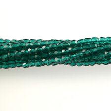 Emerald Green Transparent - 50 3mm Faceted Round Fire Polish Czech Glass Beads