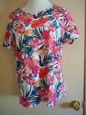 Woman's Top Time and Tru Size XXL 20 Floral 100% Cotton N without T Short Sleeve