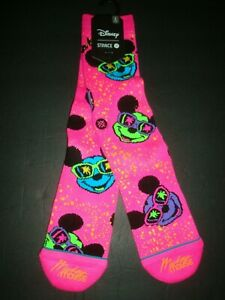 New Stance Men's Casual Socks Surprise Party 90 Years Mickey Mouse Pink L 9-12