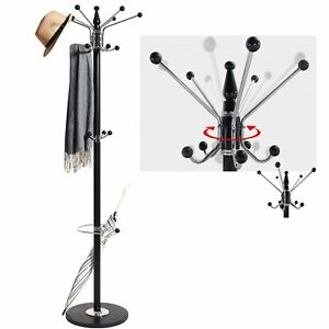 Black Modern Style 15 Hook Coat And Hat Scarf Stand & Umbrella Rack Marble Base