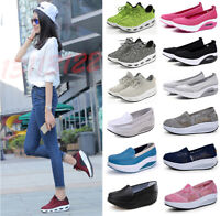 US Women Platform Shoes Lace UP Shape Ups Toning Fitness Walking Sport Sneakers*