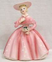 "Vintage Figural LEFTON Lady Planter Pink Dress holding Flowers 1950s 6 1/2"" tall"