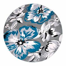 Round Rug 6' Floral Contemporary Dining Room Bedroom Area Floor Carpet Throw Mat