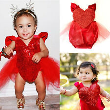 Christmas Baby Girl Heart Tulle Romper Jumpsuit Outfit Backless Sunsuit Clothing