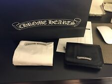 AUTH CHROME HEARTS BLACK LEATHER WALLET 925 STERLING SILVER DAGGER ZIP PULL RARE