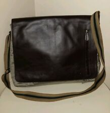 Franklin Covey brown full grain leather laptop,crossbody,flapstyle messenger bag