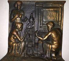 Unusual Bronze Bookends Semi Nude Weavers