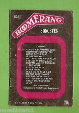 #D165. BOOMERANG  SONGSTER No. 81 SONG WORDS