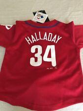 Child's Roy Halladay #34 Philadelphia Phillies Majestic Red Jersey 5/6 Medium