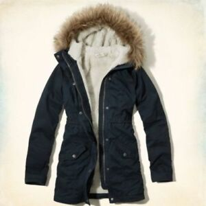 New Hollister Abercrombie Women Jack Creek Twill Parka Jacket Coat - Navy XS, M