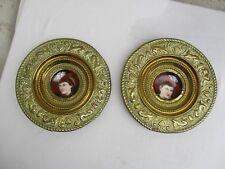 Ancienne paire médaillon cuivre repoussé porcelaine peint 19ème Napoléon III