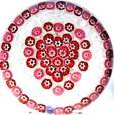 Beautiful PARABELLE Millefiori HEART on LATTICINO GROUND Art Glass PAPERWEIGHT