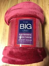 THE BIG ONE RED & PLUSH Over sized THROW Blanket SUPER SOFT 60x72  DORM BIRTHDAY