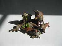 VINTAGE Austrian Vienna Bronze Miniature RED FOX SCENE Mother Pups eating prey