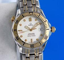 Mens Omega Seamaster 18K Gold & SS 300M watch - 36MM - White Dial - 2362.20