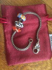 Genuine Troll bead Silver Leaf Bracelet 3 Troll beads + Gift Box