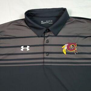 Under Armour Mens Polo Shirt Cleveland Indians 2XL XXL Black MLB Short Sleeve
